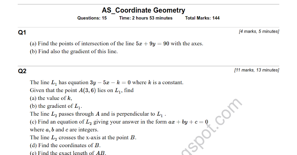 download study as maths coordinate geometry test
