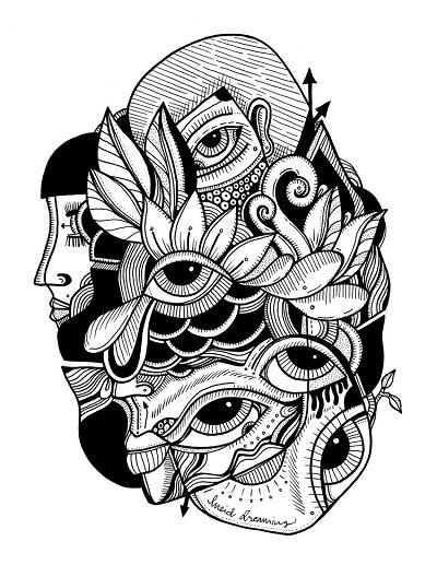 arte por Jody Pham | creative black and white drawings, cool stuff, pictures, deep feelings | imagenes chidas imaginativas bonitas, emociones y sentimientos