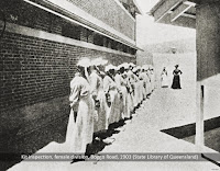 Female prisoners during a kit inspection, Boggo Road Gaol, Brisbane 1903.