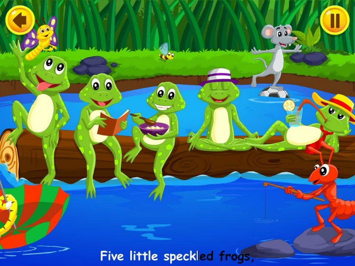 Kidloland app five little speckled frogs nursery rhyme