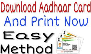 Download And Print Aadhaar Card By Simple Method