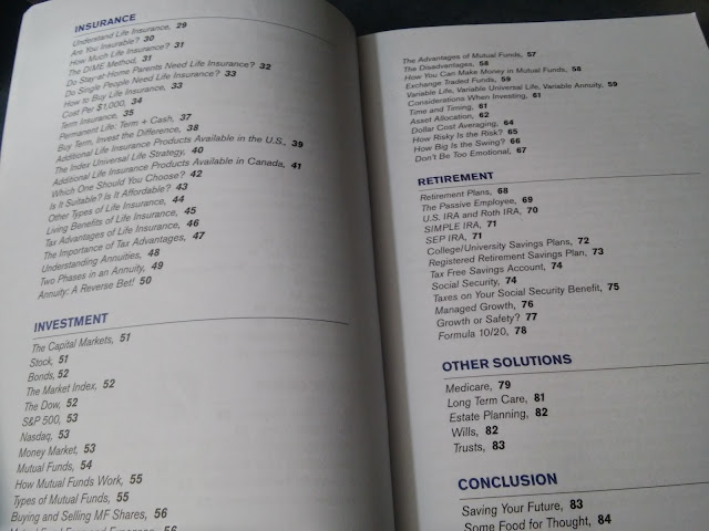 A peek on Saving your Future book's table of contents