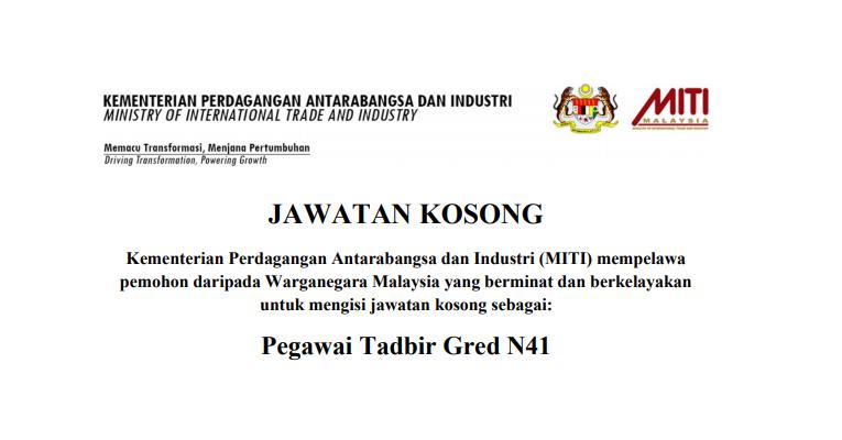 Jawatan Kosong di Kementerian Perdagangan Antarabangsa & Industri MITI