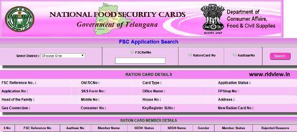 Telangana FSC Ration Card Status Details