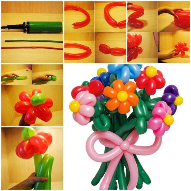 How to make balloon flowers crazzy craft for Balloon decoration color combinations