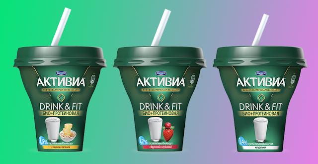 Новая линейка йогуртов Активиа DRINK & FIT, Новая линейка йогуртов Активиа DRINK & FIT GO Россия состав цена пищевая ценность