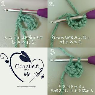 赤ちゃんどんぐり帽子の作り目は細編み6目を輪に編みいれる