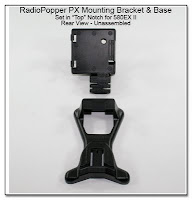 RadioPopper PX Mounting Bracket & Base - Showing Separate Parts - Rear View