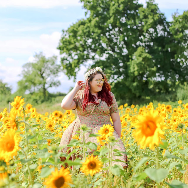Sunflower Fields Plus Size Fashion Portrait