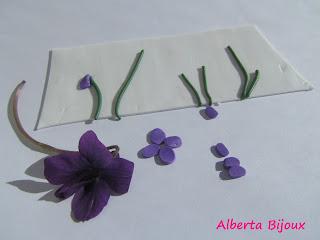 violette con fimo