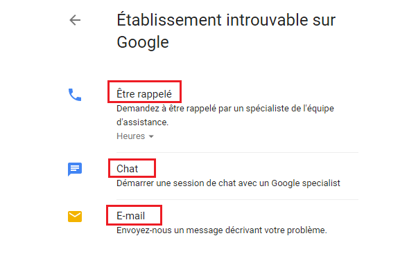 Aide aux pages Google My Business