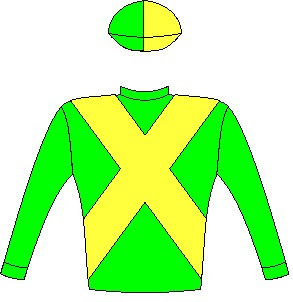 Abashiri - Silks - Owner: Messrs M G Azzie & H Haralambous & Adv M Witz - Colours: Green, yellow crossed sashes, halved cap