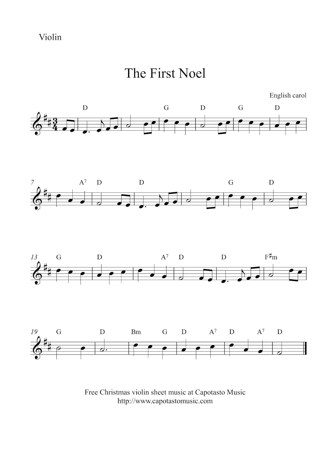 free christmas violin sheet music the first noel. Black Bedroom Furniture Sets. Home Design Ideas