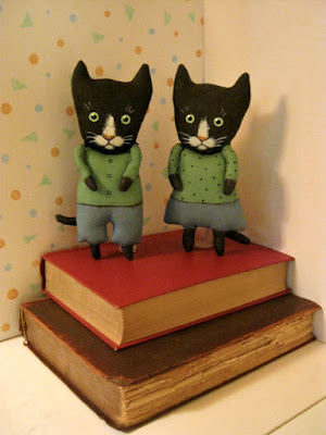 Black Cat Art Doll Couple in honor of Black Cat Appreciation Day