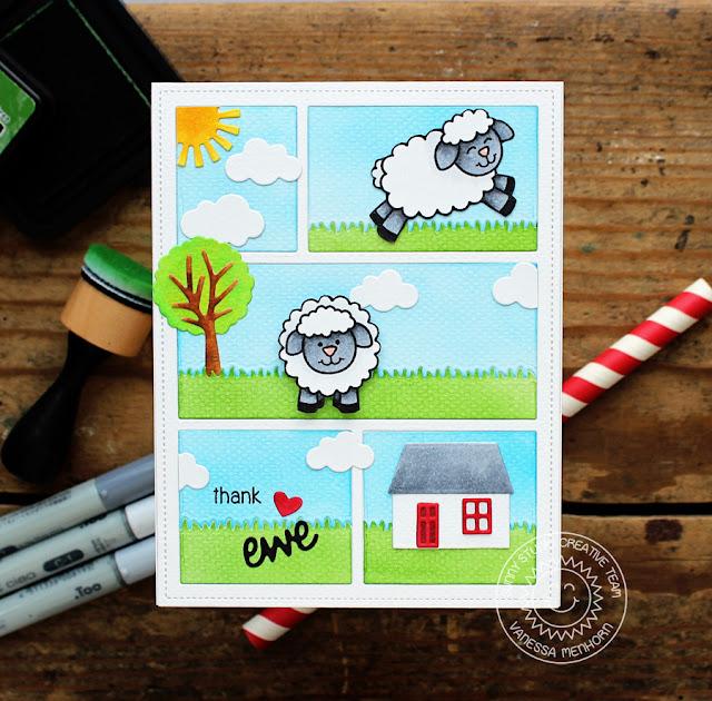 Sunny Studio Stamps: Comic Strip Everyday Dies Missing Ewe Thank Ewe Card by Vanessa Menhorn