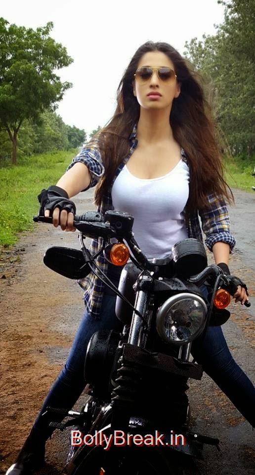 , Lakshmi Rai Hot HD Pics riding a Bike