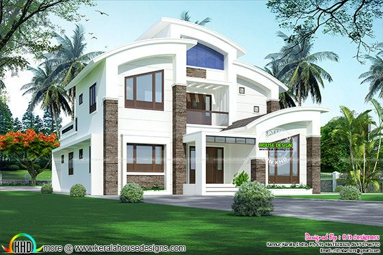 2866 sq-ft curved roof contemporary home