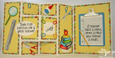 Our Daily Bread Designs Stamp Set: Class Act, Stamp/Die Duos: Notebook Paper, Custom Dies: Clipboard Set, Pierced Ovals, Pierced Squares, Pierced Circles, Paper Collection: Birthday Brights, Fun and Fancy Folds: Half Shutter