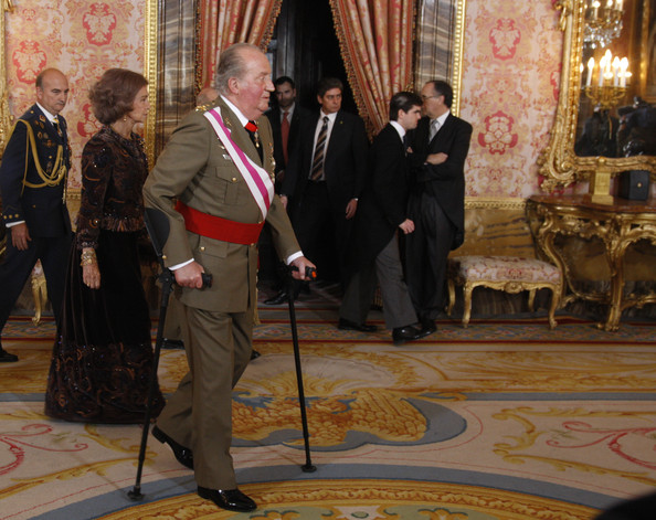 Princess Letizia, Prince Felipe, King Juan Carlos and Queen Sofia of Spain attend the new year's military parade