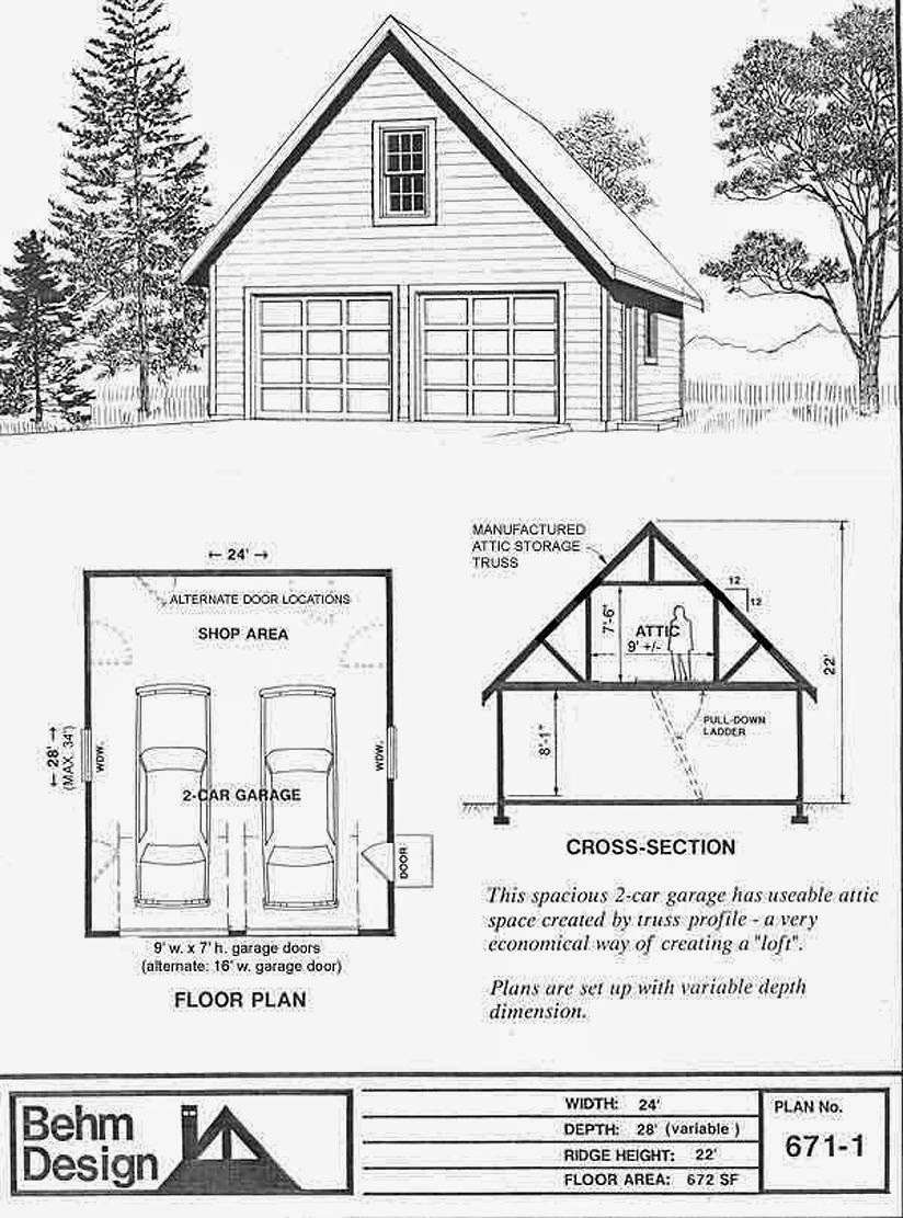 Garage Plans 671 1 2 Car With Attic Truss Roof 24 X 28