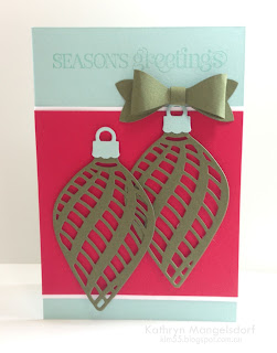 Stampin' Up! Delicate Ornaments Christmas card by Kathryn Mangelsdorf
