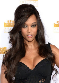 tyra banks half up half down hair