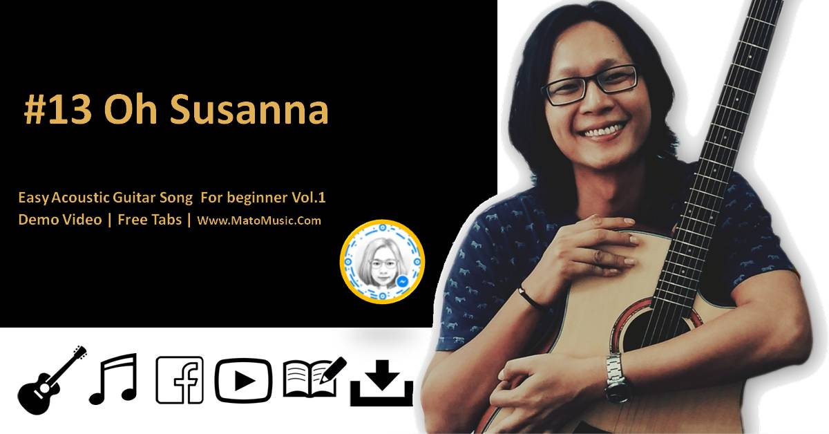 Oh Susanna Acoustic Guitar Tabs For Beginner | Video | Tabs by Mato Music