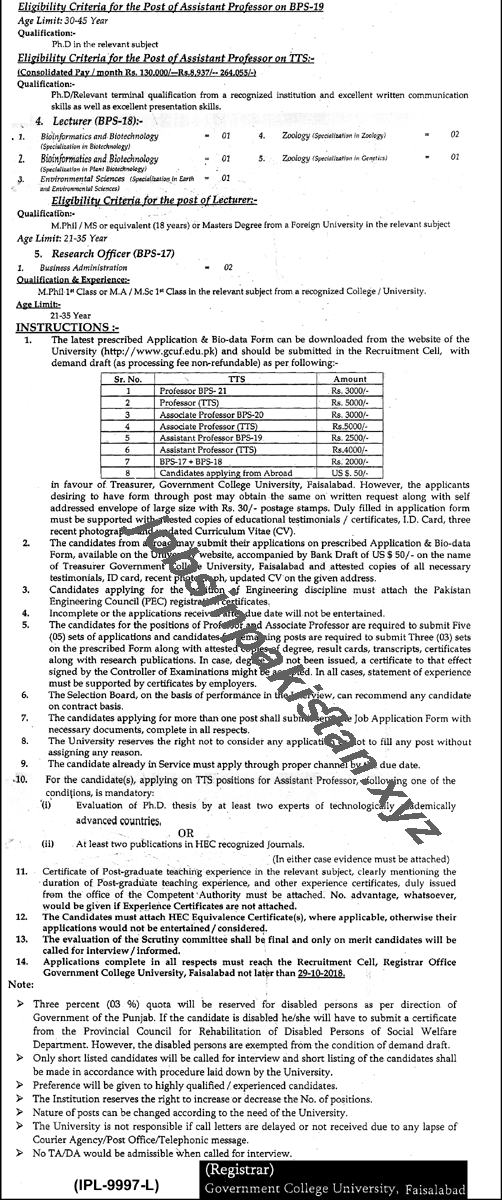 Government College University Faisalabad Jobs 2018 Advertisement Page Number 2/2