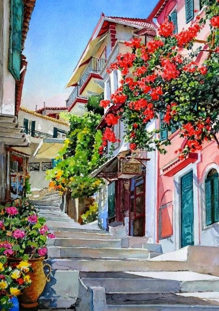 Cuadros modernos pinturas y dibujos paisajes pintados en acuarela cuadros decorativos - Pintores en cartagena ...