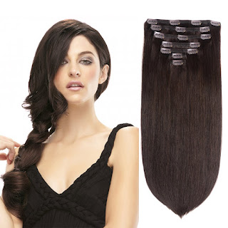"15"" Remy Human Hair Clip in Extensions for Women Dark Brown(#2)"