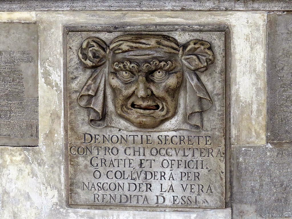 Lion's Mouth postbox for anonymous denunciations, Palazzo Ducale, Doge's Palace, Venice