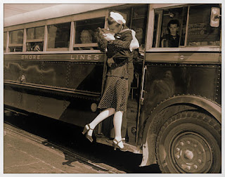 Classic photo wartime kiss in front of train