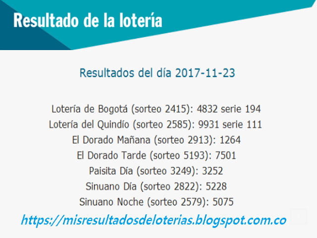 Como jugo la lotería anoche | Resultados diarios de la lotería y el chance | resultados del dia 23-11-2017