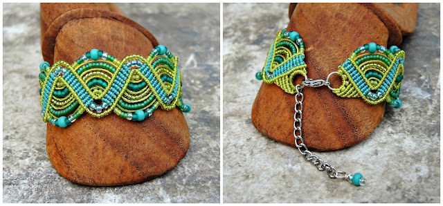 Lime and aqua micro macrame bracelet by Sherri Stokey of Knot Just Macrame.