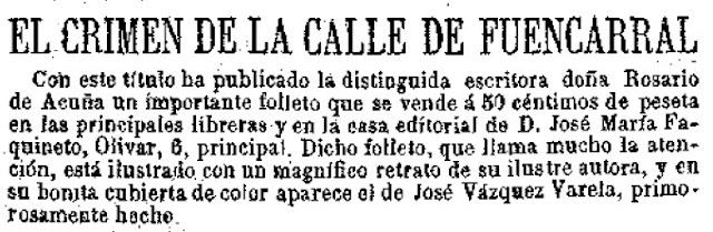 Anuncio de la venta al público del folleto titulado El crimen de la calle de Fuencarral
