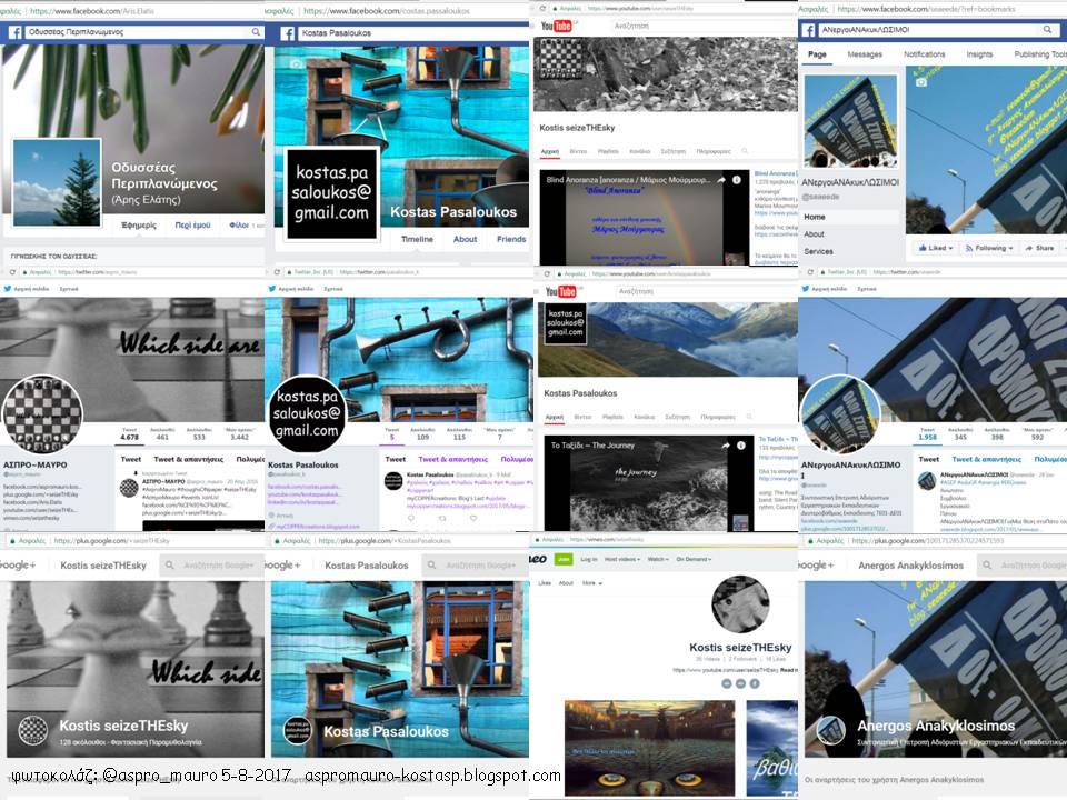 τα Μέσα Κοινωνικής Δικτύωσης μου που σχετίζονται με όλα τα ιστολόγια μου