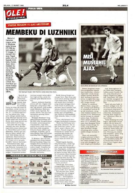 UEFA CUP SPARTAK MOSKOW VS AJAX AMSTERDAM