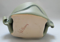 4243 Hilborn Green Pottery Dish Bottom View showing Mark