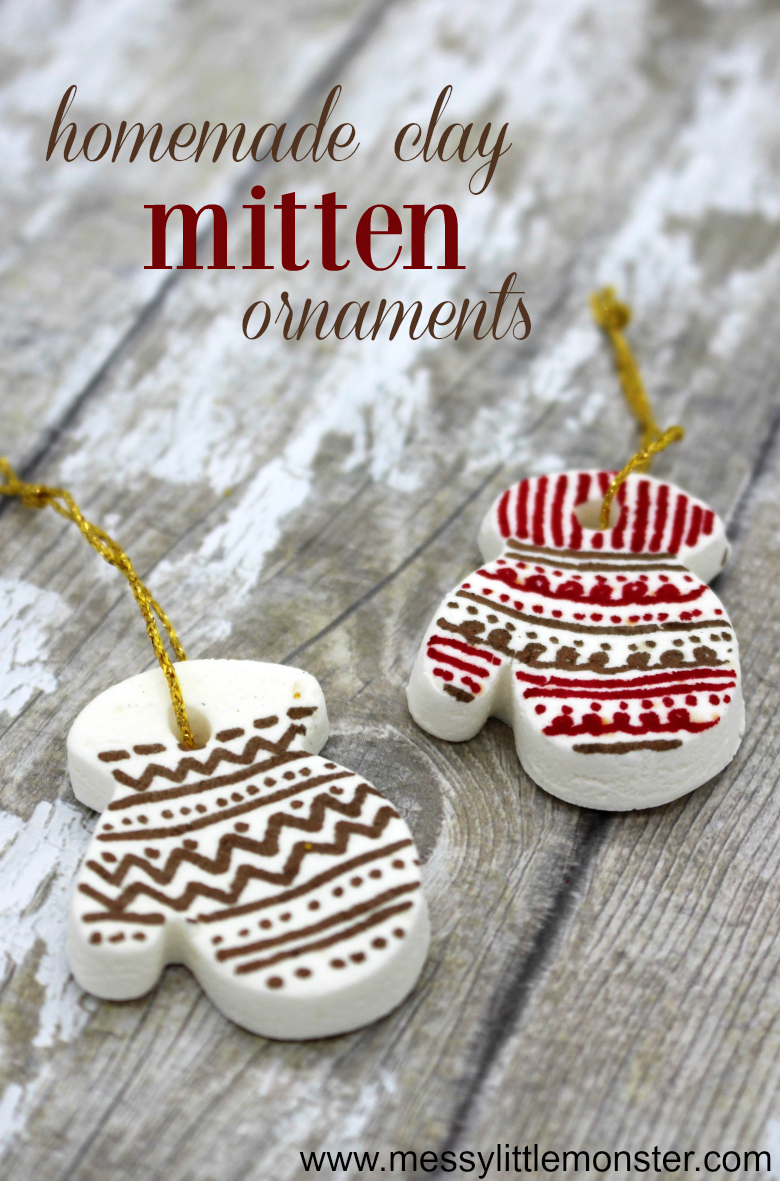 Easy homemade clay recipe to make the perfect mitten clay ornaments. An easy christmas craft for kids and adults alike!