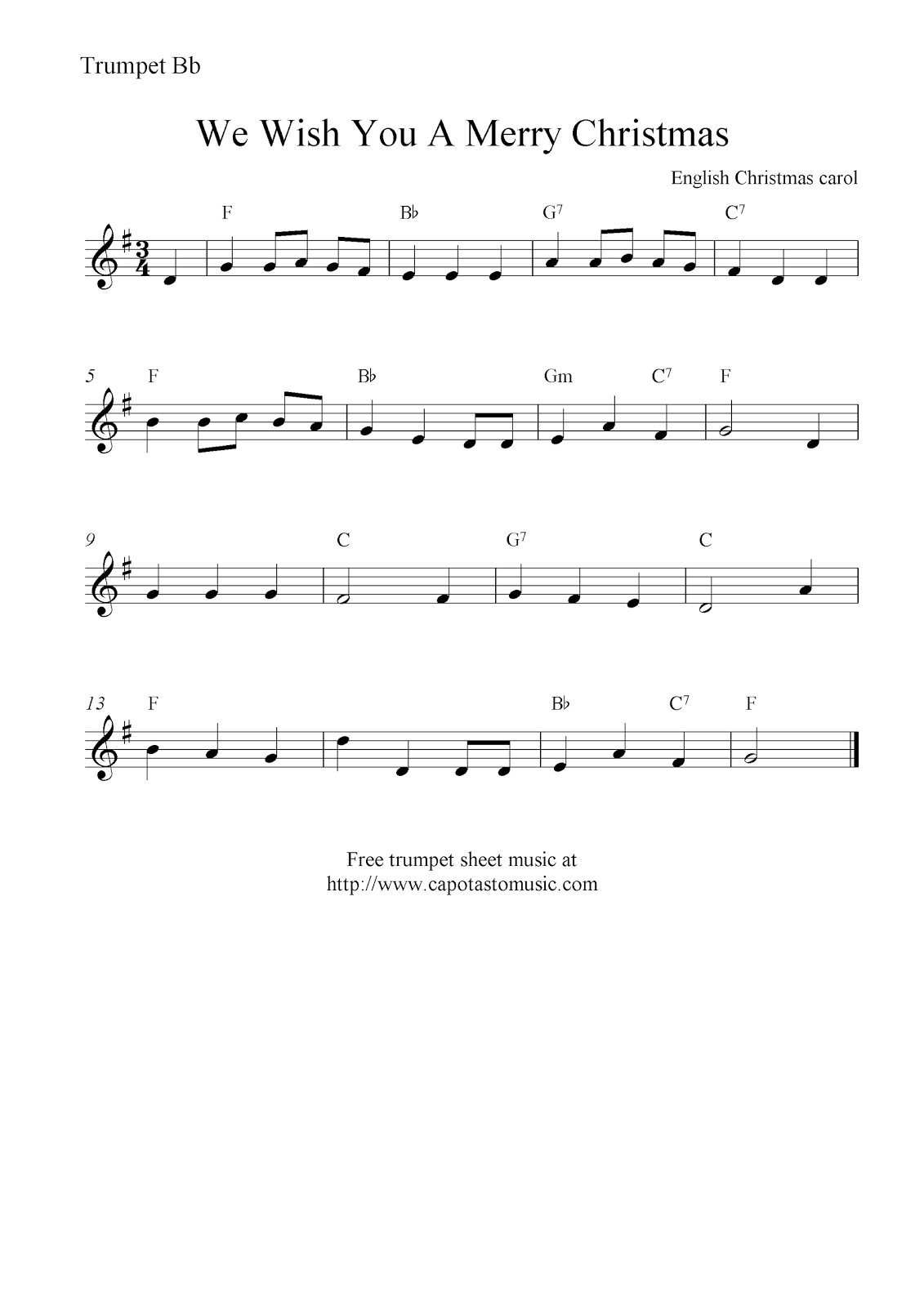 Wish You Merry Christmas Piano Notes.We Wish You A Merry Christmas Free Christmas Trumpet Sheet