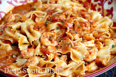Deep South Dish Shrimp And Bowties In Fresh Tomato Basil Cream Sauce