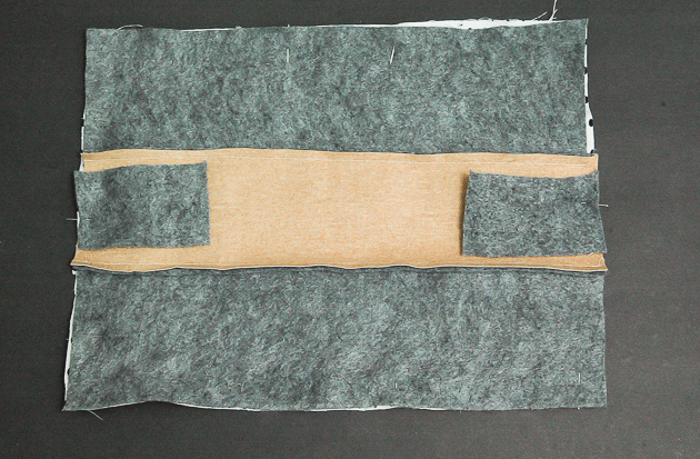 Sewing felt and faux leather clutch