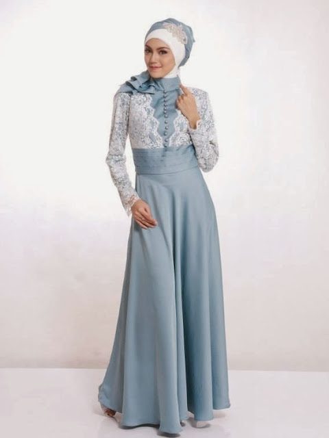 busana muslim remaja kain satin untuk pesta