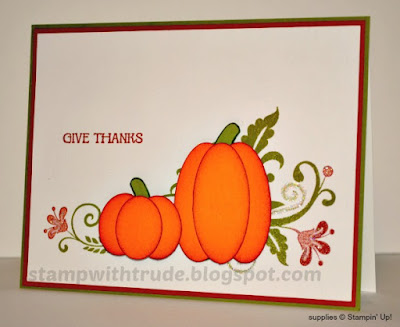 Flowering Flourishes, And Many Monre, Stampin' Up!, Trude Thoman, Stamp with Trude, Thanksgiving, Thanks, fall, pumpkin