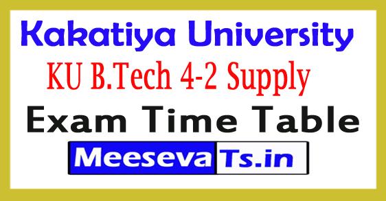 Kakatiya University B.Tech 4-2 Supply Exam Time Table 2018