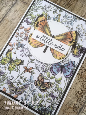 Simple handmade butterfly notecard created using the Botanical Butterfly DSP by Stampin' Up!