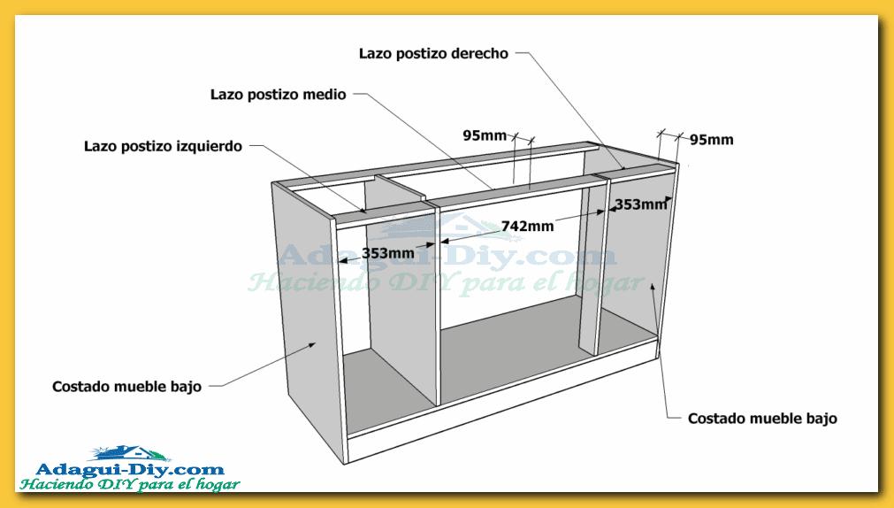 Como hacer muebles de cocina plano mueble bajo mesada de for Como instalar una cocina integral pdf