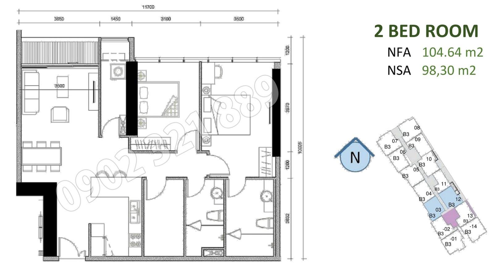 mặt bằng căn hộ sunwah pearl 2 phòng ngủ B3-03 và B3-12