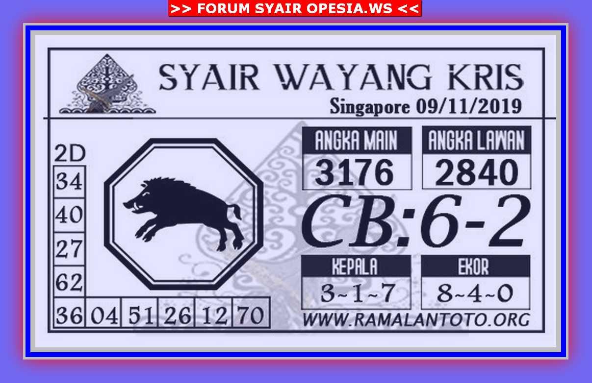 Kode syair Singapore Sabtu 9 November 2019 26