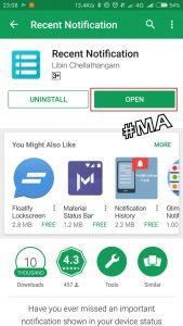 Buka Aplikasi Recent Notifications Setelah Diinstal
